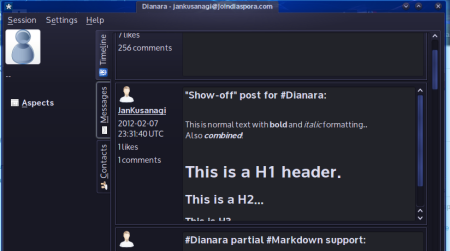 Dianara, a Diaspora application, rendering some posts with Markdown